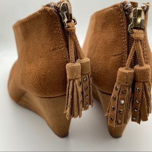 Anne Klein Torny Suede Brown Fringe Bootie Wedge